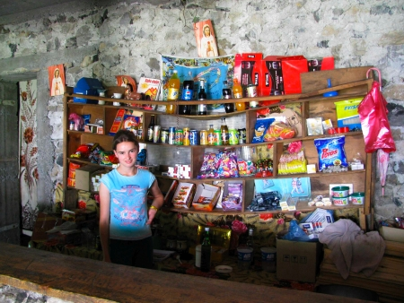 Pashka in her family's shop in the mountain village of Thethi